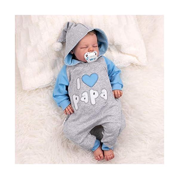 """Baby Sweets – Mono de bebé con capucha en diseño """"I Love Papa"""", como ropa de bebé para niñas & niños/mono para bebé como pelele para recién nacidos & niños pequeños diferentes tamaños 2"""