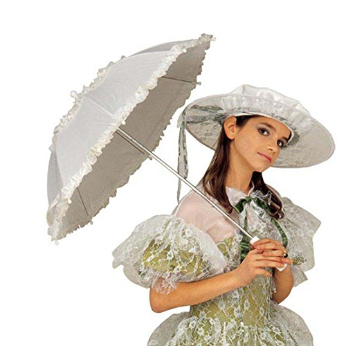 Sonnenschirm Kostüm - NET TOYS Weißer Rüschenschirm Schirm mit Spitze Spitzenschirm Rüschen Sonnenschirm Kostüm Zubehör Damenschirm weiss