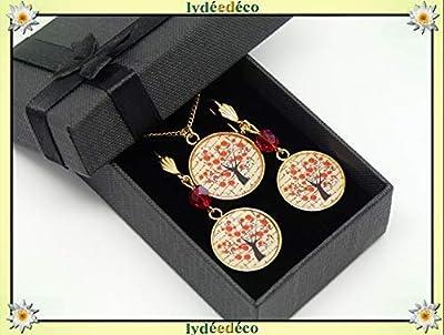 Parure Collier Boucles arbre coquelicot rouge noir laiton doré 24k gold filled 14K résine cadeaux personnalisés cadeau noel maman anniversaire cérémonie mariage invités fête des mères