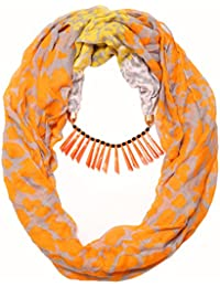 Scarf Necklace Animal Printed Orange Necklace Scarf Pendant Scarf Stole Wrap Muffler Scarves ORDER NOW ""