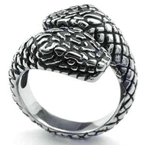 Gnzoe Uomo Acciaio inossidabile Anello Annata Double Serpente Capos Gotico Anello, Argento Nero, Dimensioni 20