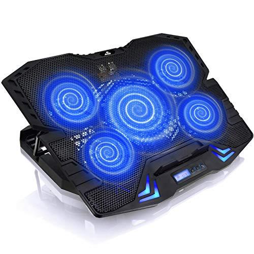 AAB Cooling Airstream - Laptop Kühler mit 5 Lüftern, Einstellbare Neigung und Blau Hintergrundbeleuchtung   Notebook Ständer   Kühlung   Unterlage Bett   Laptops bis 17 Zoll und PS4/XBOX   Cooling Pad