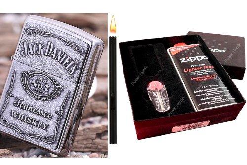 zippo-jack-daniels-label-cromo-pulido-en-set-de-regalo-varilla-mechero-black-matte