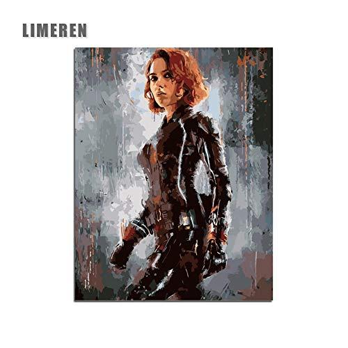 MBYWQ Digitale Malerei The Avengers Film Superheld Black Widow DIY Acryl Ölfarbe Auf Leinwand Für Einzigartiges Geschenk Wohnkultur(Ohne Rahmen)