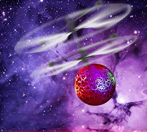 TWIFER EpochAir RC Fliegen Ball, RC Drone Helicopter Eingebaut LED Beleuchtung Jugendliche Bunte Flyings Kinder Spielzeug (15.5 * 11cm, Rot) (Kunststoff-modell-kits Flugzeuge)