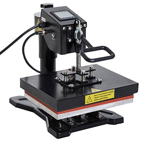 HOMCOM Transferpresse Schwenkpresse Textilpresse T-Shirtpresse schwenkbar 23x30cm 1500W, Metall+Silikagel, Schwarz