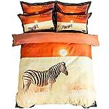 Stillshine 3D Gepard und Pferd Druck Bettwäsche-Sets Königin Größe 100% Baumwolle Bettwäsche Tier Bettbezug Set Bett in Einem Beutel 4 stücke (Pferd, 220 * 240CM)