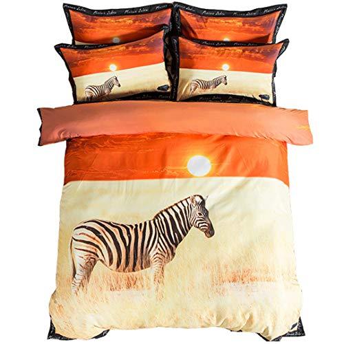 Stillshine 3D Gepard und Pferd Druck Bettwäsche-Sets Königin Größe 100% Baumwolle Bettwäsche Tier Bettbezug Set Bett in Einem Beutel 4 stücke (Pferd, 200 * 230CM)
