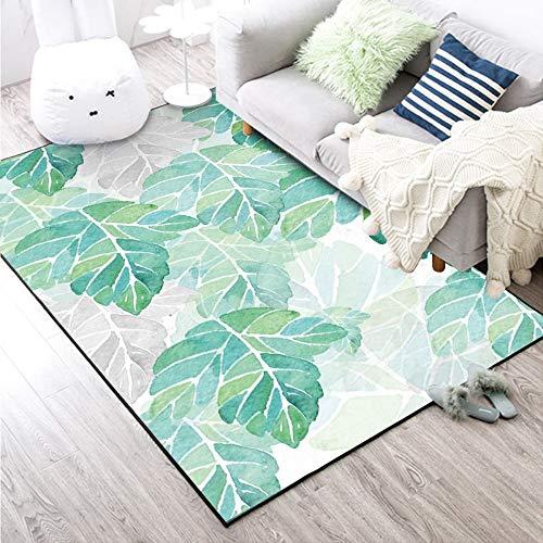 dusg Aquarell-Grün-Blätter Druckboden-Teppiche Wohnzimmer-Flur-große Teppiche im Freienhauptdekor-Rutschfeste Fußmatten, 80 × 160CM - Blättern Teppich