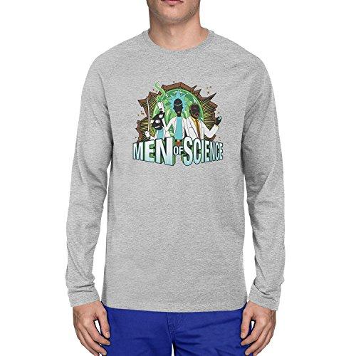 Planet Nerd - Men of Science - Herren Langarm T-Shirt, Größe XL, grau - Futurama Cosplay Kostüm