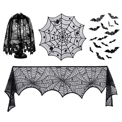 Decoraciones de Halloween, pantallas de lámparas de Halloween, sobremesa de encaje redondo, telaraña negra, bufanda de chimenea de chimenea y etiqueta engomada de la pared de 32 piezas 3D murciélagos