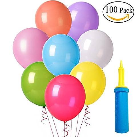 100 Luftballons und 1 Ballonpumpe, MIJOYE Metallic Pearl Bunte Partyballon 12 Zoll Latexballons für Hochzeit Geburtstag Feiern Baby Dusche Party Dekorationen(Blau Luftpumpe)