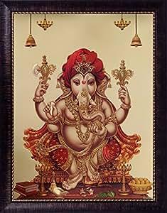 SAF 'Ganesh Religious' Framed Painting (Synthetic, 40 cm x 4 cm x 50 cm, Gold, Golden Foil)