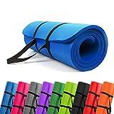 PROMIC Grand Tapis De Yoga Rembourré Avec Sangle De Transport Pour Pilates, Sport, Gym, 183 cm × 61 cm × 1,5 cm 187 cm × 60 cm × 1,5 cm, 9 couleurs (Bleu, 183 cm × 61 cm × 1,5 cm)