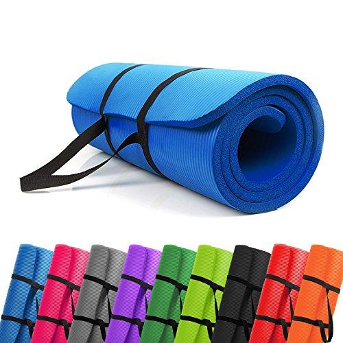 PROMIC Trainingsmatte, Yogamatte, 183 cm x 61 cm x 1,5 cm Pilates Matte, für Yoga, Pilates und andere Trainings zu Hause und Studio, rutschfeste Gymnastikmatte mit Tragegürtel, Blau
