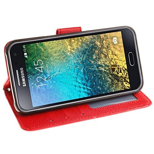 Für Samsung Galaxy E5 Litchi Textur Horizontale Flip PU Leder Cover Case mit Halter & Card Slots & Wallet & Photo Frame & Lanyard by diebelleu ( Color : Red ) Red