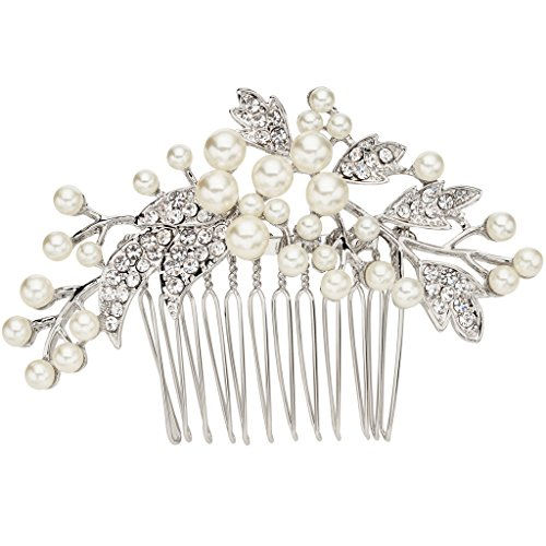 EVER FAITH® Kristall ivory farbe künstliche Perle Blume Form Haarkämme Silber Ton N07885-1