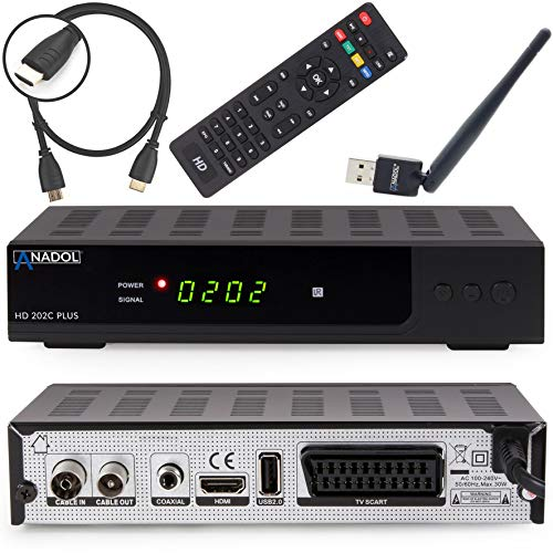 Anadol HD 202c Plus digitaler Full HD 1080p Kabel Receiver [Umstieg Analog auf Digital] inkl. HDMI Kabel & WLAN USB Stick (HDTV, DVB-C/C2, HDMI, SCART, Mediaplayer, USB 2.0) – schwarz