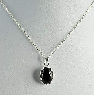 Collier avec pendentif fait main à la main en argent sterling noir et argent massif 925
