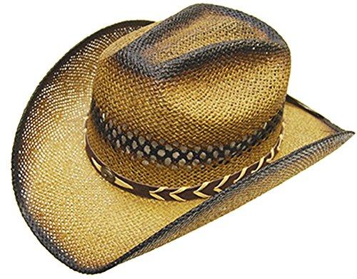 Modestone Unisex Straw Chapeaux Cowboy Tan Black b2832ab8210c