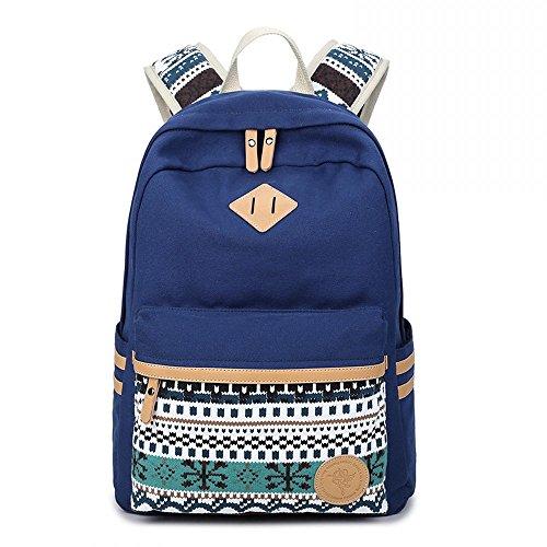 Ambielly Schulart- Rucksäcke verdickte Leinwand Laptop-Beutel-Schulter Daypack-Schule-Rucksack-verursachende Handtasche (Blau-1)