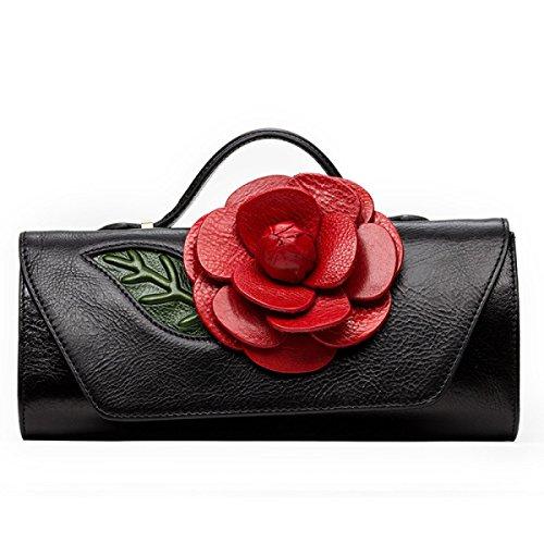 Frauen-Art-Wind-Handtaschen-Retro- Blumen-Schulter-Beutel Black
