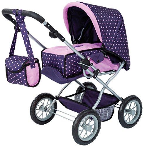 Bayer Design 15075AA - Kombi-Puppenwagen Grande, rosa / lila mit Muster