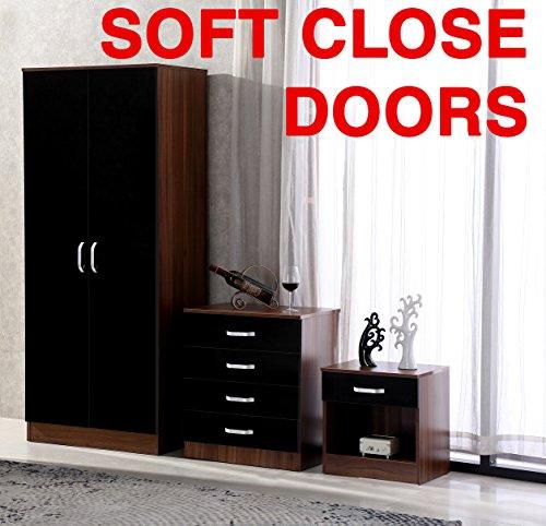 Gladini High Gloss 3 Piece Bedroom Furniture Set - Includes Wardrobe, 4 Drawer Chest, Bedside Cabinet (Black/Walnut)