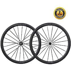ICAN 700C Carbono Carretera Bicicleta Rueda 40mm Clincher Tubeless listo Sólo 1493g