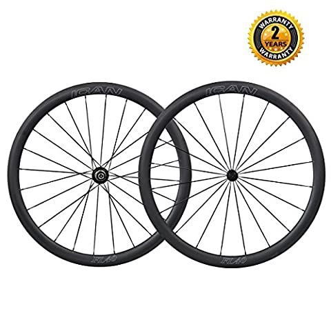 ICAN 700C Carbon Road Bike Wheelset 40mm Clincher Tubeless Ready Only 1493g