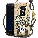 DeinDesign Samsung Galaxy S7 Edge Carry Case Hülle zum Umhängen Handyhülle mit Kette Skull Totenkopf Cards