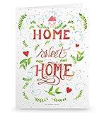 Mr. & Mrs. Panda Grußkarte Home Sweet Home - 100% handmade in Norddeutschland - Home sweet home, Zuhause, Haus Deko, Einrichtung Deko, Home Spruch, Geschenk Einzug, Umzug, Wohnung, Türschild Grusskarte, Klappkarte, Einladungskarte, Karte