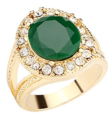 SaySure - South Korea elegance emerald green ring (SIZE : 8) (Gold-emerald-cut-ringe Rose)
