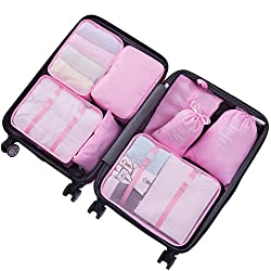 Packing Cubes For Travel - 8 Sets Luggage Organiser Storage Bags Suitcase Compression Pouches (Pink)