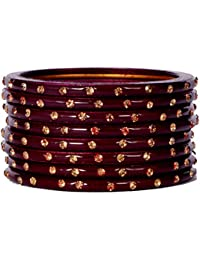 Dulari Stone Embellished Maroon Lac Round Simple Bangles For Women (Set Of 8 Bangles)