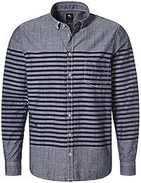 Otto Kern Herren Hemd langarm gestreift Farbe denim Blau Grau Modell 50442 Größe S - XL