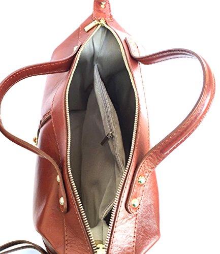 5d1da4a381 ... Superflybags Borsa Bauletto Donna in Vera Pelle Liscia modello Serena  Made in Italy marrone ...