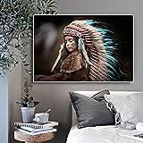 adgkitb canvas Native Indian Kids Portrait Leinwand s Und Drucke Wandkunst Bild Für Wohnzimmer...