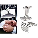 Hosaire 1 Pair Fashion Men's Cufflinks Square Checkerboard Shirt Cufflinks Cuff Links Mens Dress Business Wedding Cufflinks Gift Present(Silver)