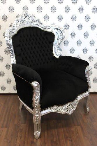 Casa Padrino Barock Sessel King Schwarz/Silber - Möbel Antik Stil