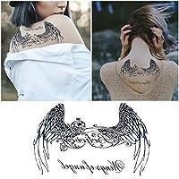 Tempoary Tattoos Stickers Fake Waterproof For Black Angel Wings Pattern Totem Tattoos Body Art Women Man (13.8*24cm)