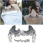 Tempoary Tattoos Stickers Fake Waterproof For Black Angel Wings Pattern Totem Tattoos Body Art Women Man (13.8