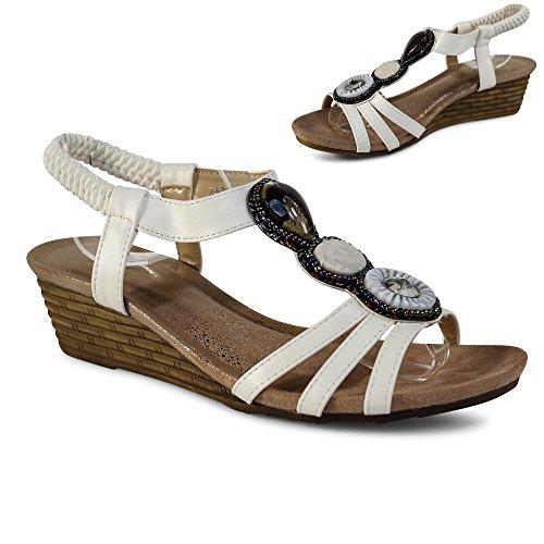 Damen Sandalen Keilabsatz Sandaletten Wedge Nieten Glitzer Riemchen ST104 Weiß