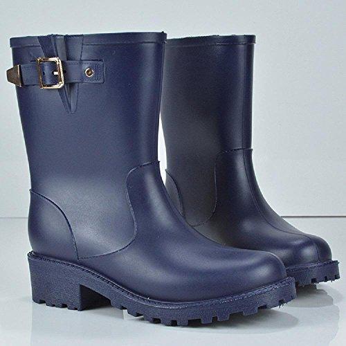 Mode Regen Schuhe Anti-Slip Verschleiß Regen Stiefel Martin Gummi Schuhe Blue