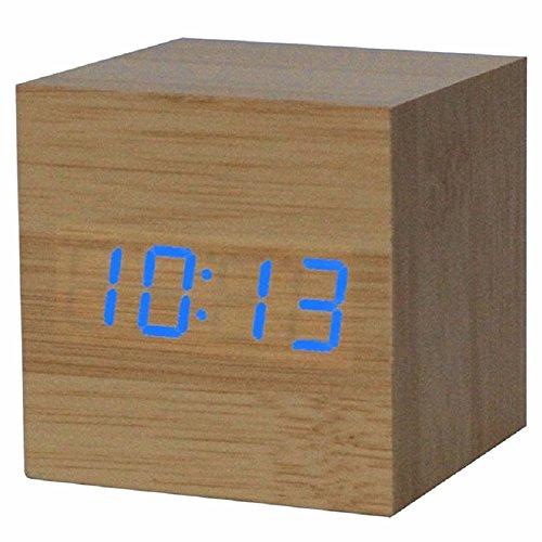 Digitaluhr - TOOGOO(R) Wecker/ Digitaluhr Holztisch mit einem USB-Anschluss, funktioniert mit AAA-Batterien Holz/ Blau
