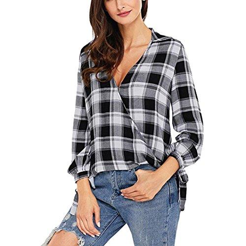 BHYDRY Frauen Langarm Plaid Print Sweatshirt Pullover Tops Bluse Shirt(L,Grau)