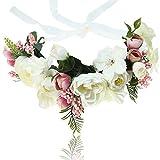 AWAYTR Blumen Stirnband Hochzeit Haarkranz Blume Krone (Weiß + Rosa)