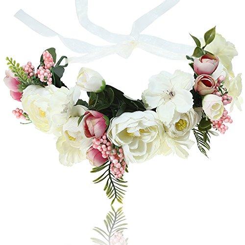 AWAYTR Blumen Stirnband Hochzeit Haarkranz Krone - Frauen Mädchen Blumenkranz Haare für Hochzeit Party(Weiß + Rosa)