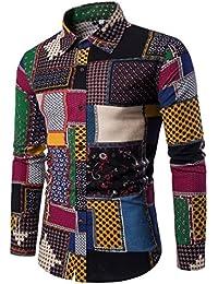 Coloré(TM) Hommes Chemise,Chemise à carreaux à manches longues Chemisier  décontracté coton c12cd0aba82
