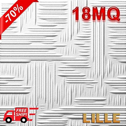 Pannelli polistirene espanso polistirolo soffitto MQ 18 50x50 con spessore di 1 di decorativi 3D antimuffa isolanti termo/acustici DOPPIA DENSITA 3